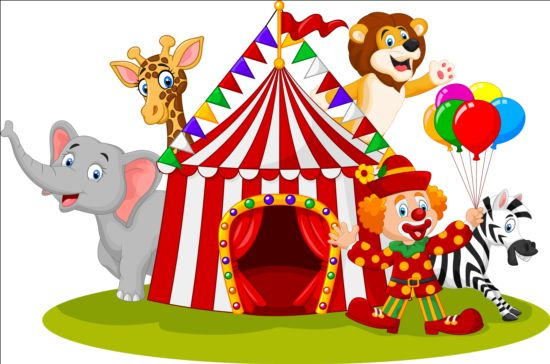 Circus And Clown With Cute Animal Vector 02 Vector