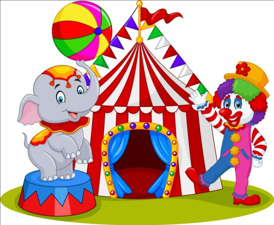 Circus and clown with cute animal vector 04 free download - Circo joker immagini bambini ...