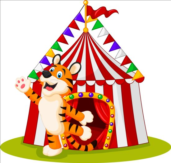 Circus with cute tiger vector