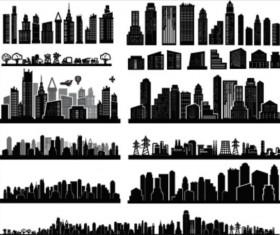 City skyscrapers silhouette vector set