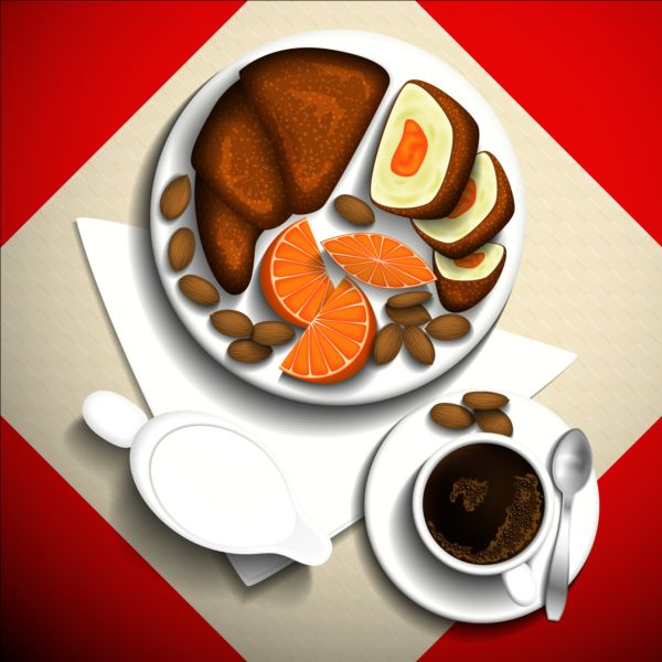Coffee and dessert vector material 02