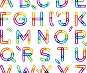 Colored alphabet whit paper clip vector