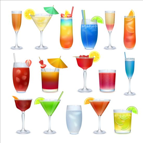 Colored cocktail vector set 02