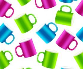 Colored mug seamless pattern vector