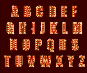 Colored neon alphabet vector design