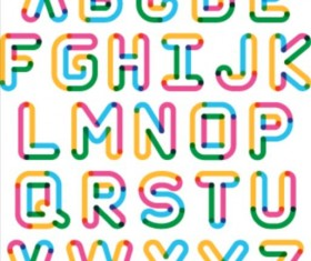 Colored outlines alphabet vector