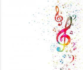 Colorful music note with grunge background vector