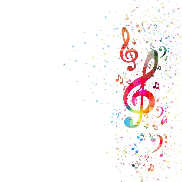 colorful music note with grunge background vector free