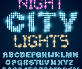 Colorful neon alphabet and number vector