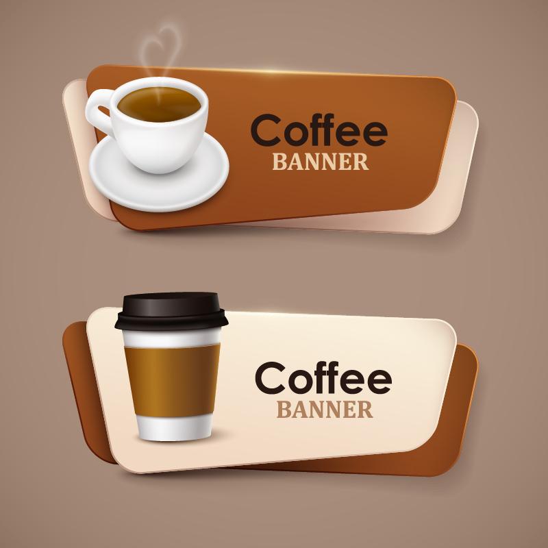 Creative coffee banners vector 01