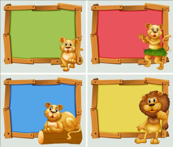 Cute Animal And Wooden Photo Frame Vector 04 Vector