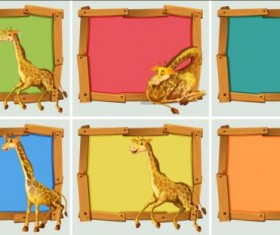 Cute animal and wooden photo frame vector 10
