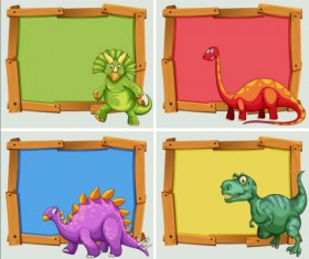 Cute animal and wooden photo frame vector 11