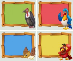 Cute animal and wooden photo frame vector 12
