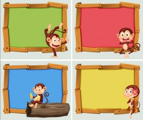 Cute animal and wooden photo frame vector 13
