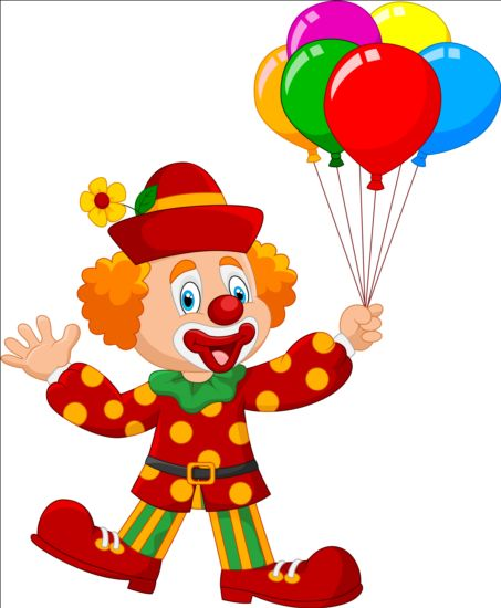 Cute clown with colored balloon vector - Vector People ...