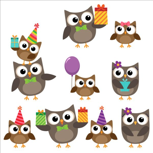 Cute owls with birthday cake and balloon vector 01
