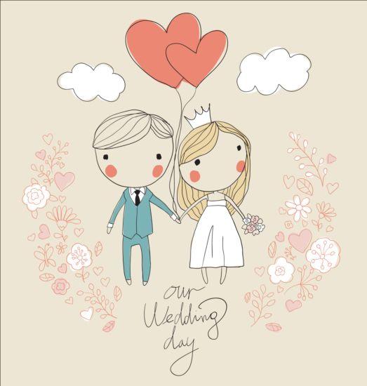 Cute Wedding Card Hand Drawn Vector 04