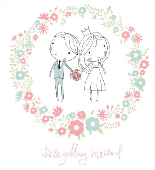 Cute wedding card hand drawn vector 07 - Vector Card, Vector People ...