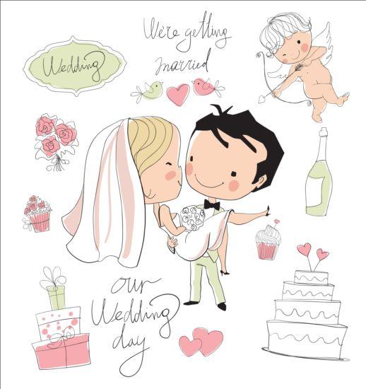 Cute Wedding Card Hand Drawn Vector 11