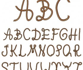 Dark color rope alphabet vector