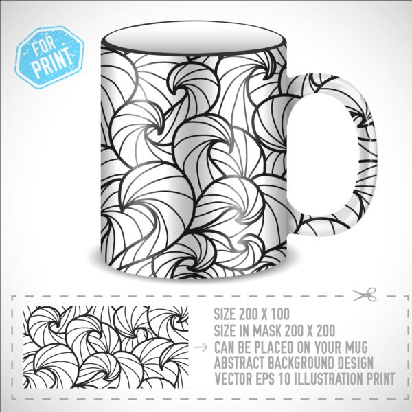 Decor floral with mug vector material 01