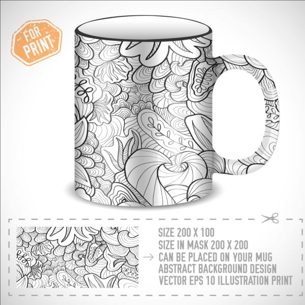 Decor floral with mug vector material 02