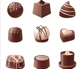 Delicious chocolate icons set vector 01