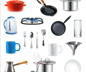 Different Kitchen utensils vector set 01