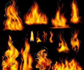 Different fire flames vector set
