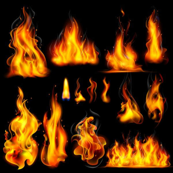 Different fire flames vector set
