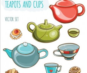 Different teapots and cups vectors