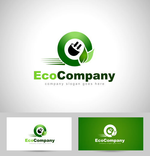 Eco company logos with business card vector 01