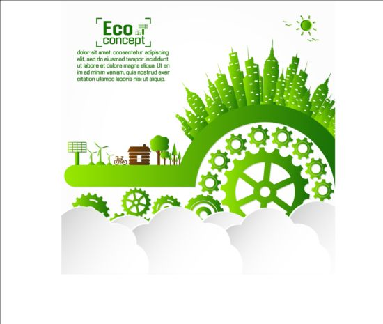 Eco infographic with gearwheel vector material 03