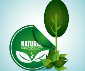 Ecological with natural stickers vector material 02