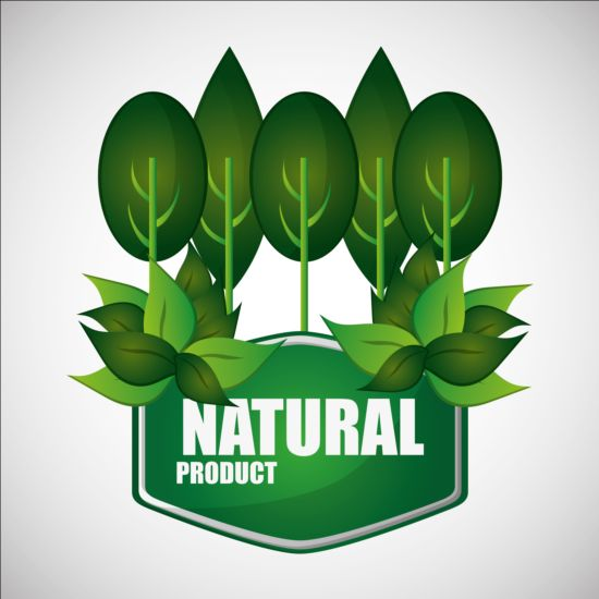 Ecological with natural stickers vector material 03