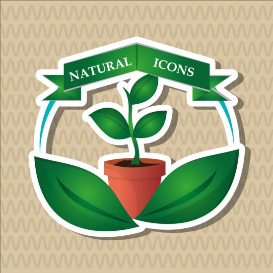 Ecological with natural stickers vector material 04