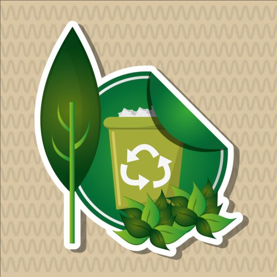 Ecological with natural stickers vector material 05