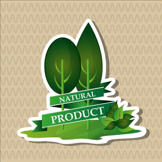 Ecological with natural stickers vector material 07
