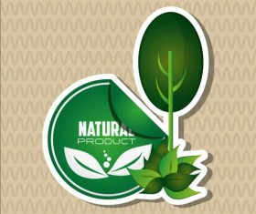 Ecological with natural stickers vector material 08