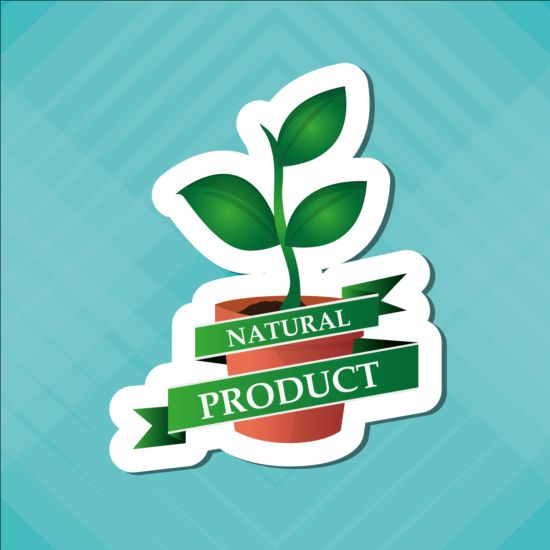 Ecological with natural stickers vector material 09