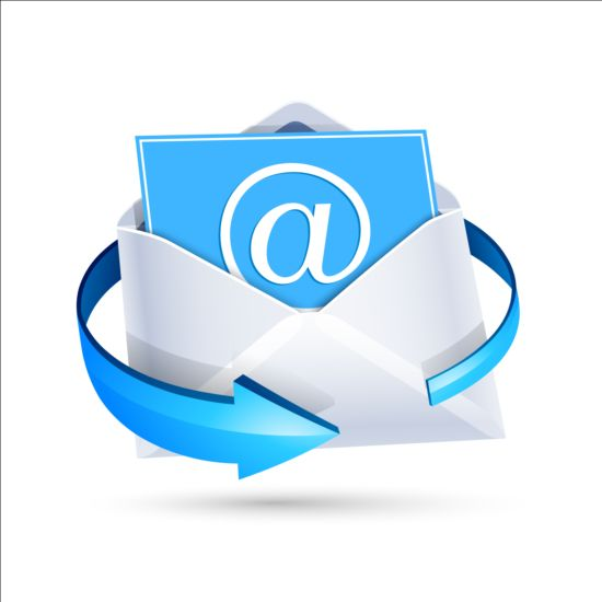 Email icon with blue arrow vector 01