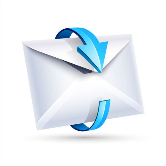 Email icon with blue arrow vector 02
