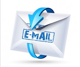 Email icon with blue arrow vector 03