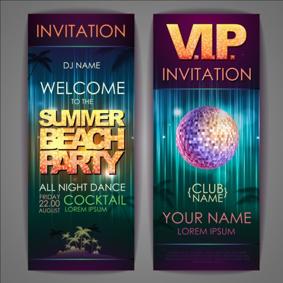 Exquisite cocktail party invitation card vector 07