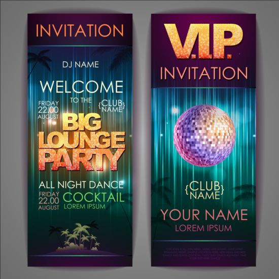 exquisite cocktail party invitation card vector 08 free