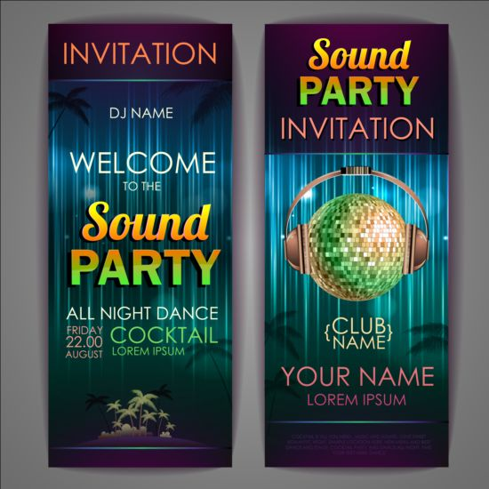 Exquisite Cocktail Party Invitation Card Vector 10 Free Download