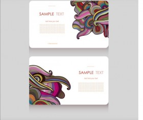 Floral decor pattern with business card vector 01