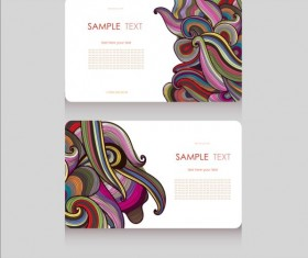 Floral decor pattern with business card vector 02