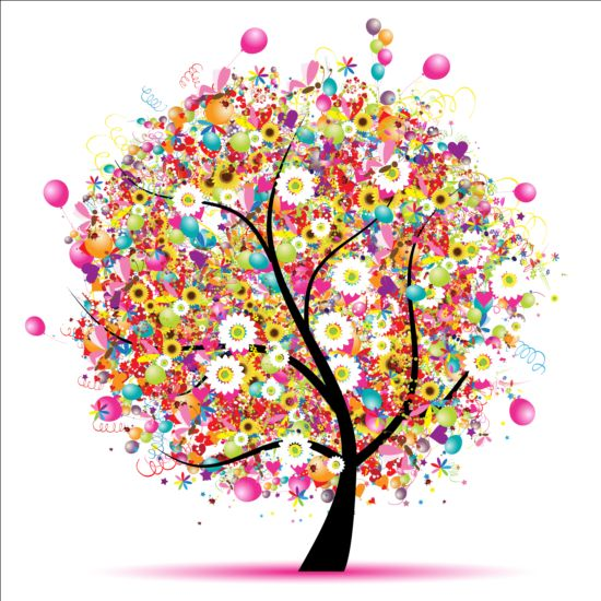 Floral tree with holiday balloons vector 01